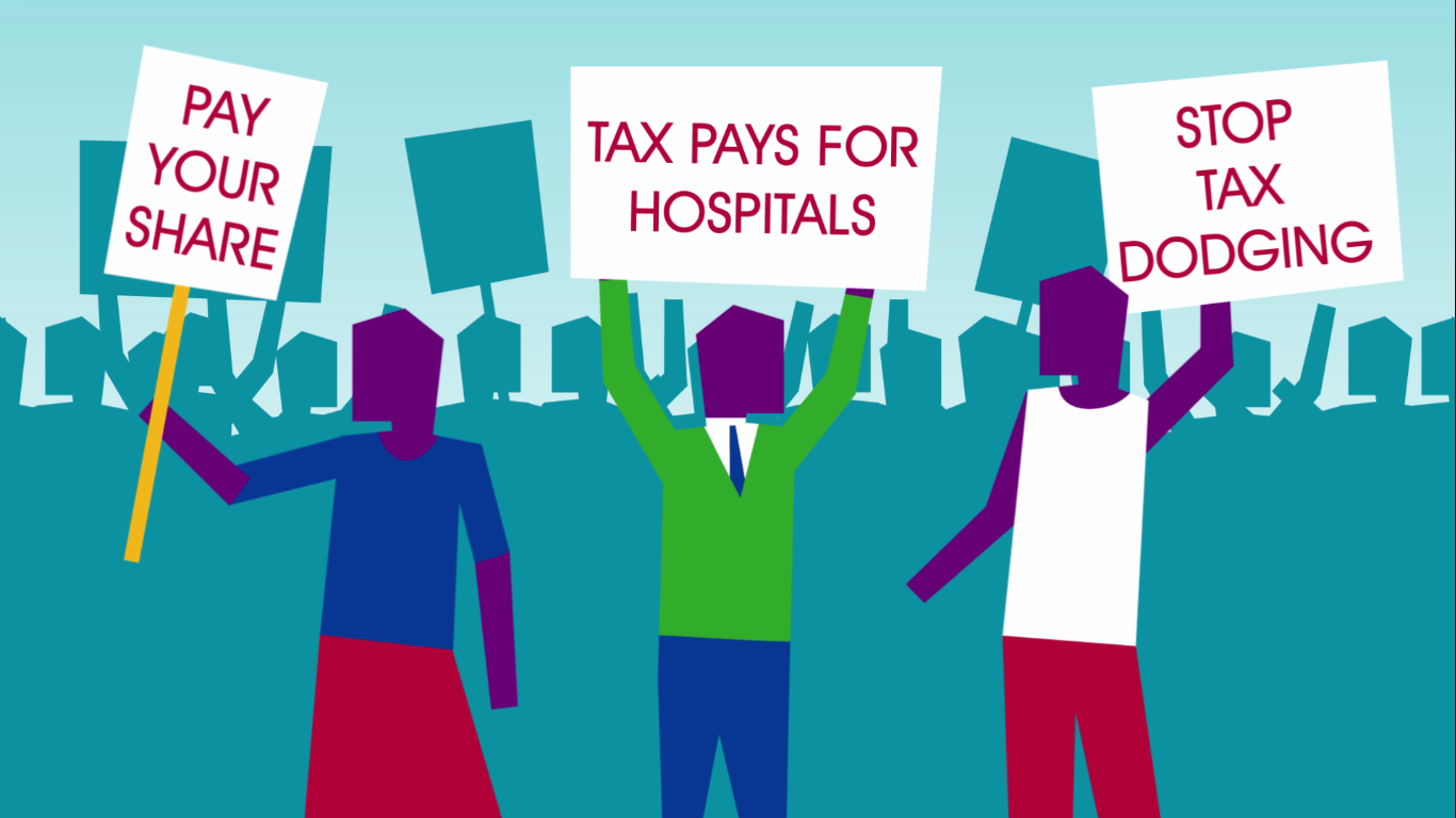 """Title slide from an animation video about country-by-country reporting. Three figures stand at the front of a crowd holding signs reading """"Pay your share"""" """"Tax pays for hospitals"""" """"Stop tax dodging"""""""