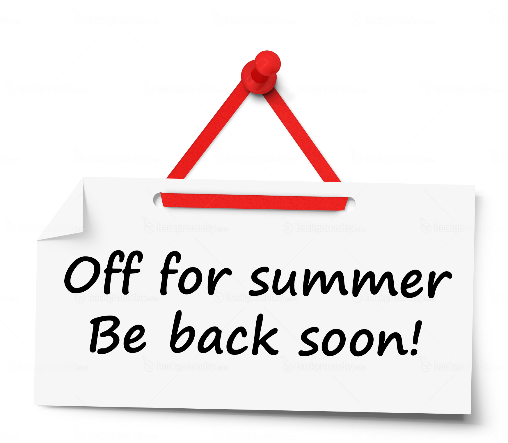 "A computer generated pin-board note reads ""off for the summer, be back soon!"""