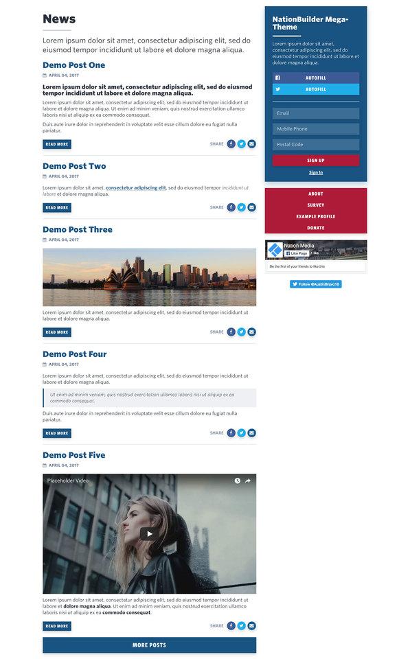 NationBuilder Content Block Module: Blog with Sidebar