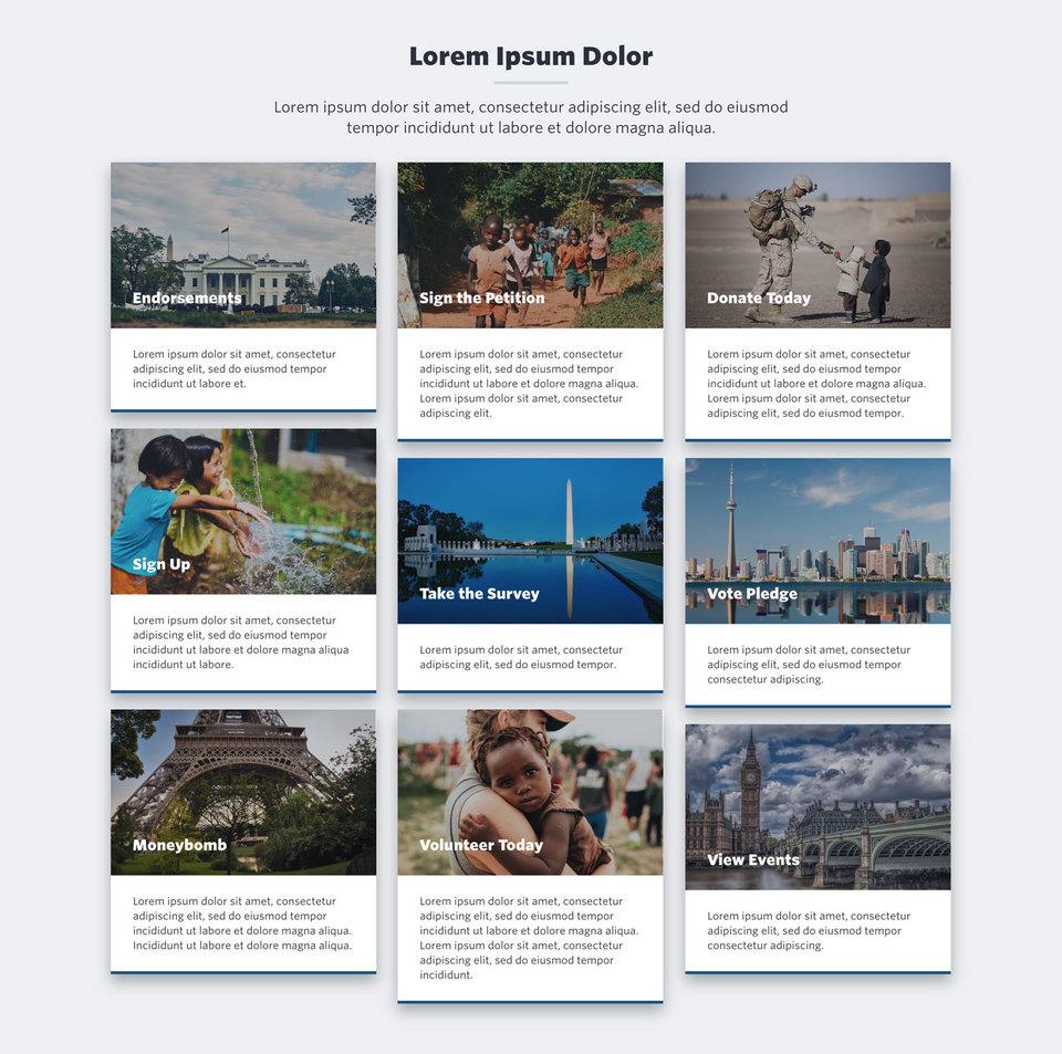 NationBuilder Content Block Module: Material Cards