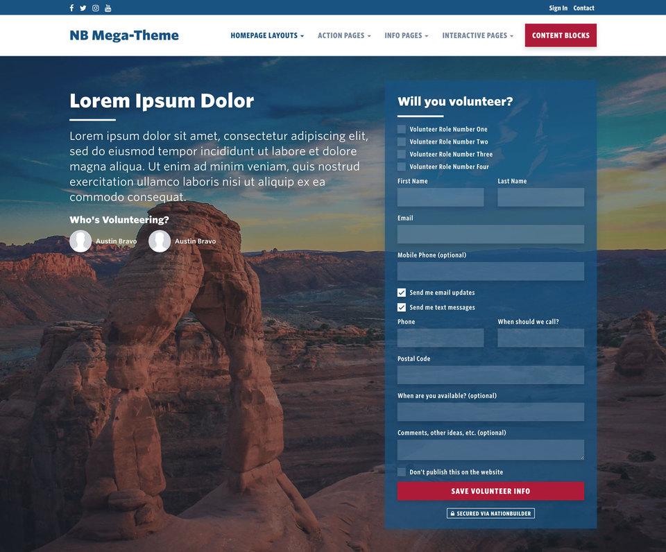 NationBuilder Content Block Module: Action Form