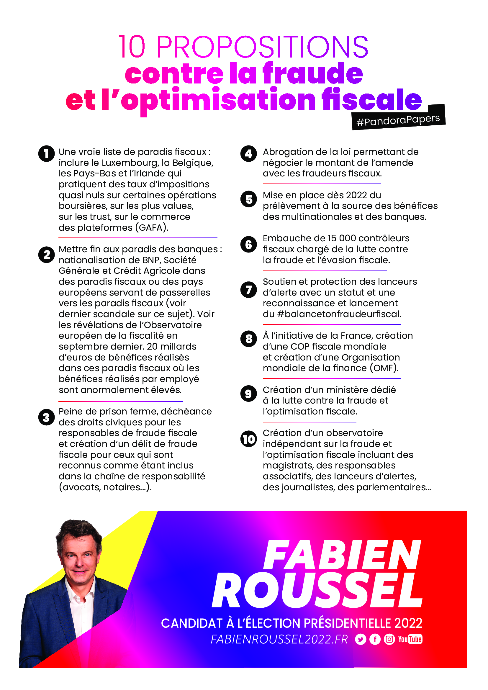 tract reprenant les 10 propositions