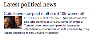 Headline: Mothers $10k worse off