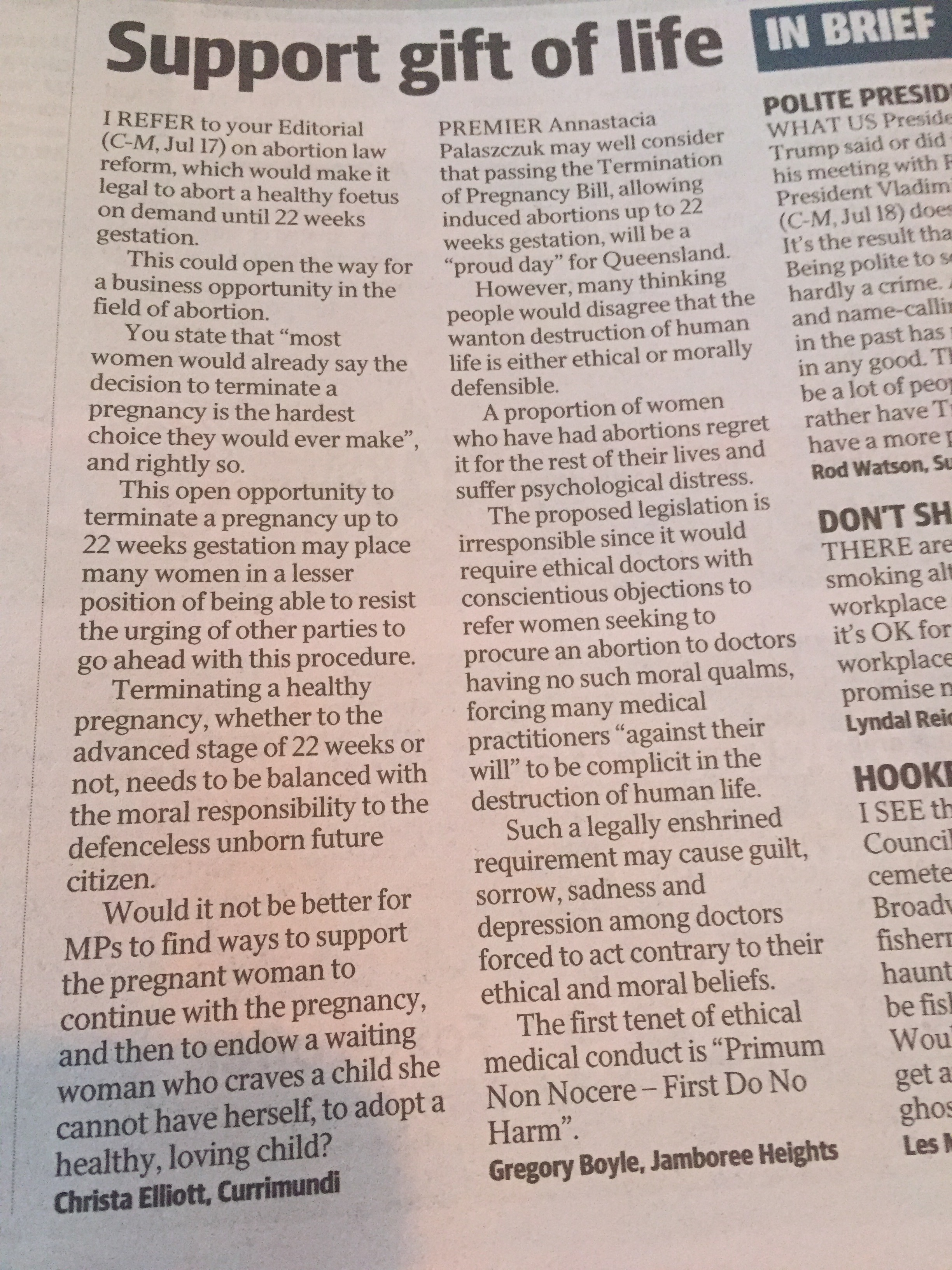Photo of letters to the editor in The Courier-Mail