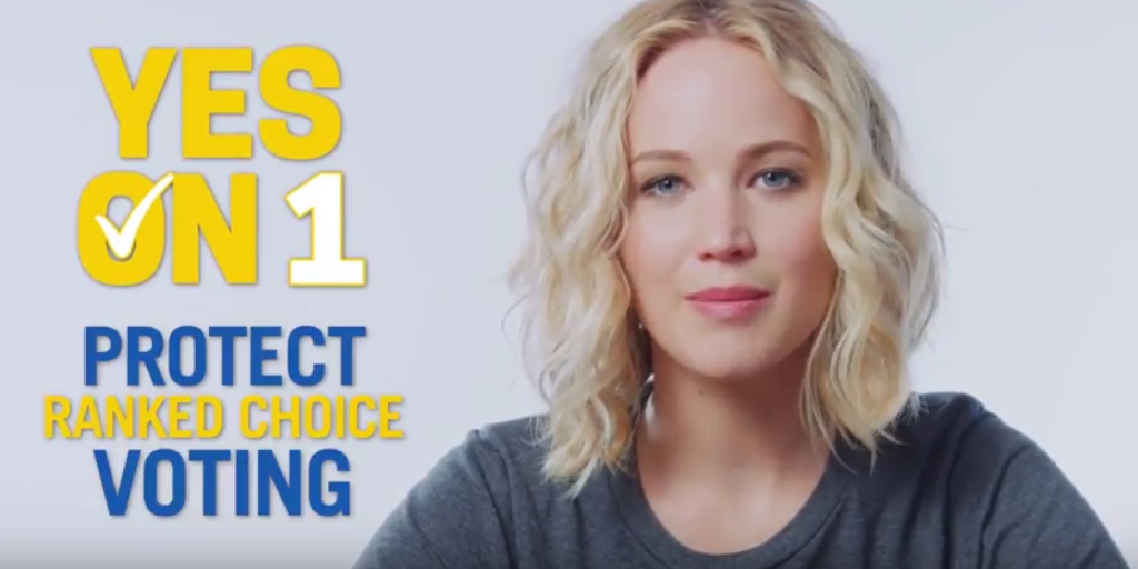 Jennifer Lawrence urges Mainers to vote Yes to protect ranked choice voting