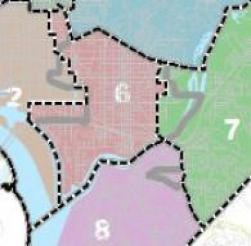 The proposed 2011 redistricting plan for D.C., laid over the current ward map.