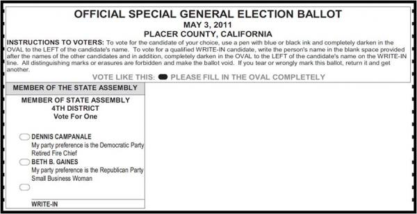 A write-in vote on this ballot would be thrown out, unbeknownst to the voter.