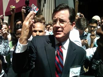 Comedian Stephen Colbert taking donations for his Super PAC (photo Sadonis)