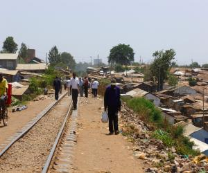 Railroad tracks cut through Kibera (Photo by Danya Hansberger)