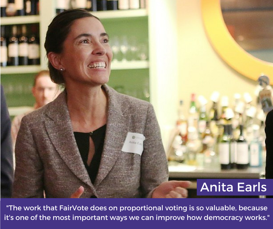 """Anita Earls, """"The Work that FairVote does on proportional voting is so valuable, because it's one of the most important ways we can improve how democracy works."""""""