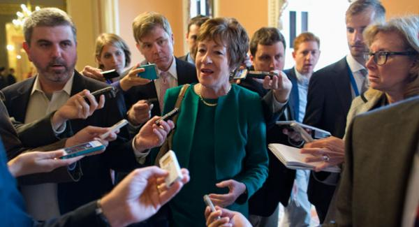 Susan Collins answers media questions