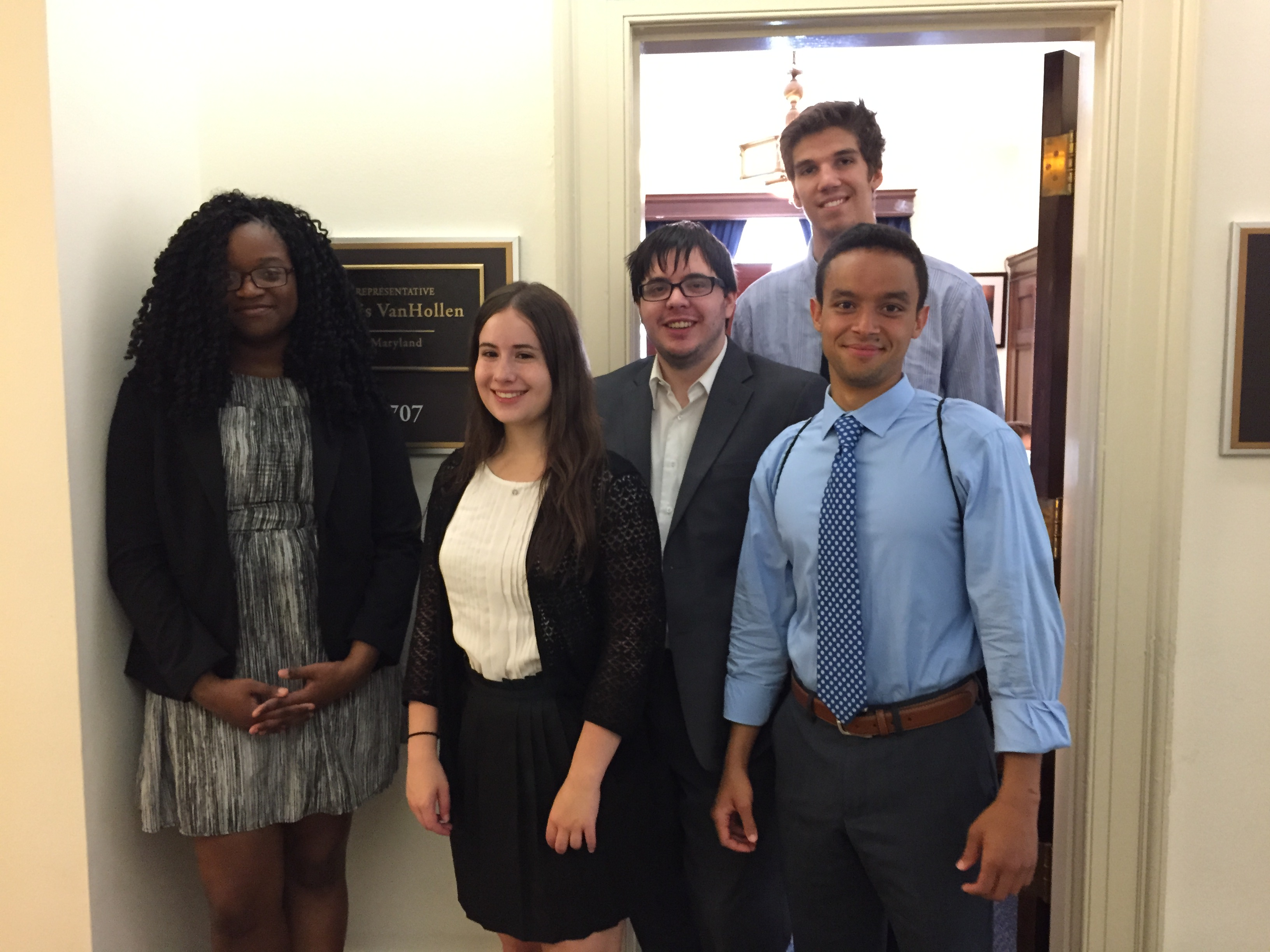 Group of interns in front of Rep. Van Hollen's (MD-8) office