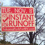 Picture of a yard sign showing support for Takoma Park IRV