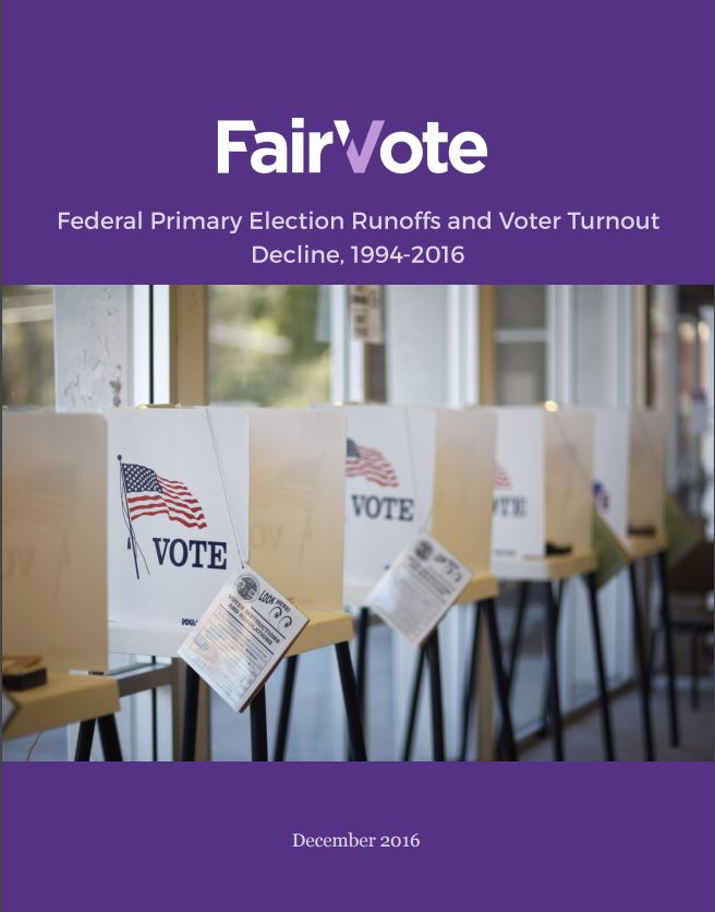 Federal Primary Runoff Elections and Voter Turnout Declines, 1994 - 2016