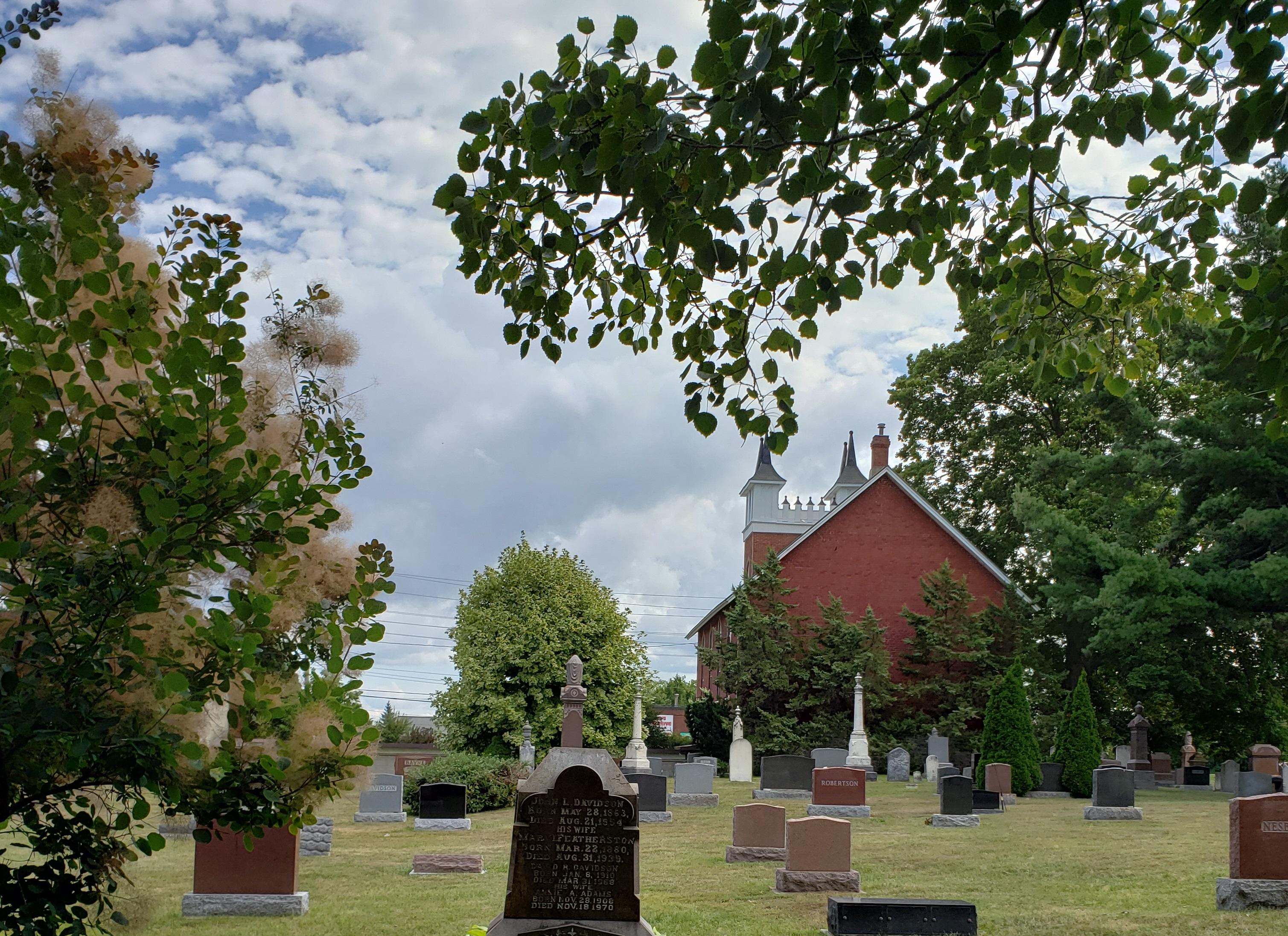 Quiet garden and cemetery behind faith community