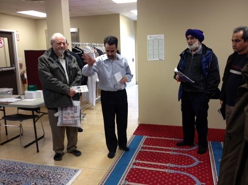 Participants learning about the building process at Bilal Masjid Mosque.