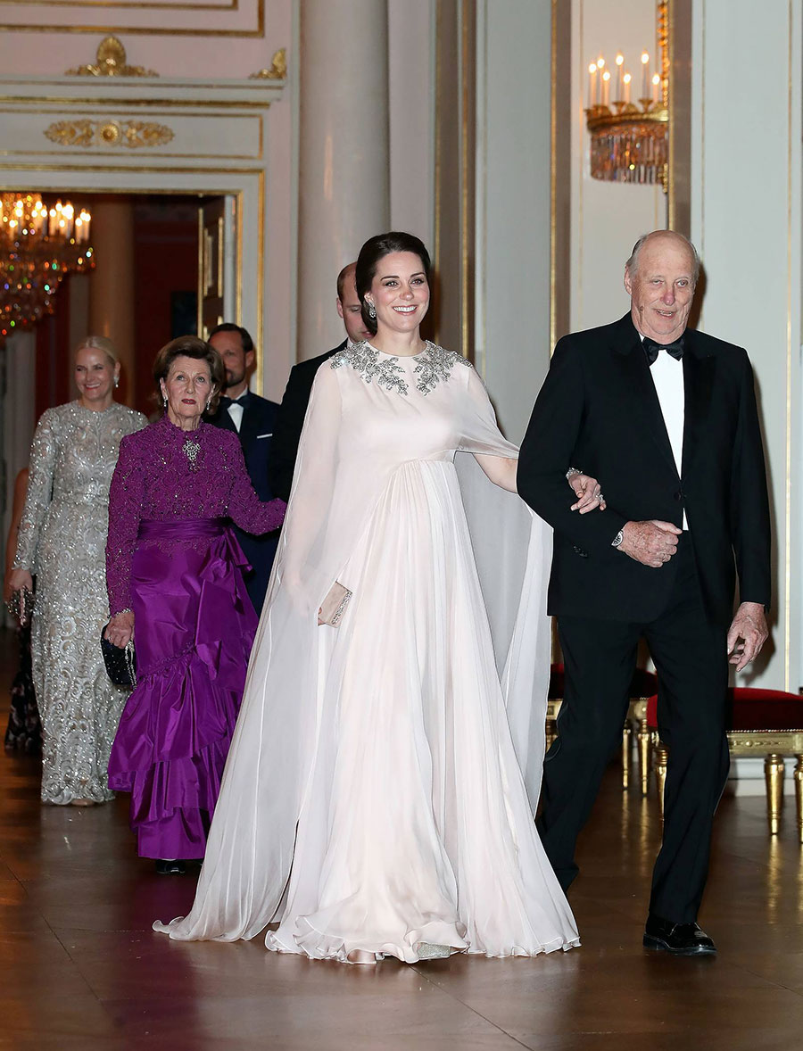 See the glamorous maternity gown princess kate just wore in sweden the duchess of cambridge who is expecting her third child in april looked like a greek goddess in a flowing blush gown from alexander mcqueen ombrellifo Choice Image