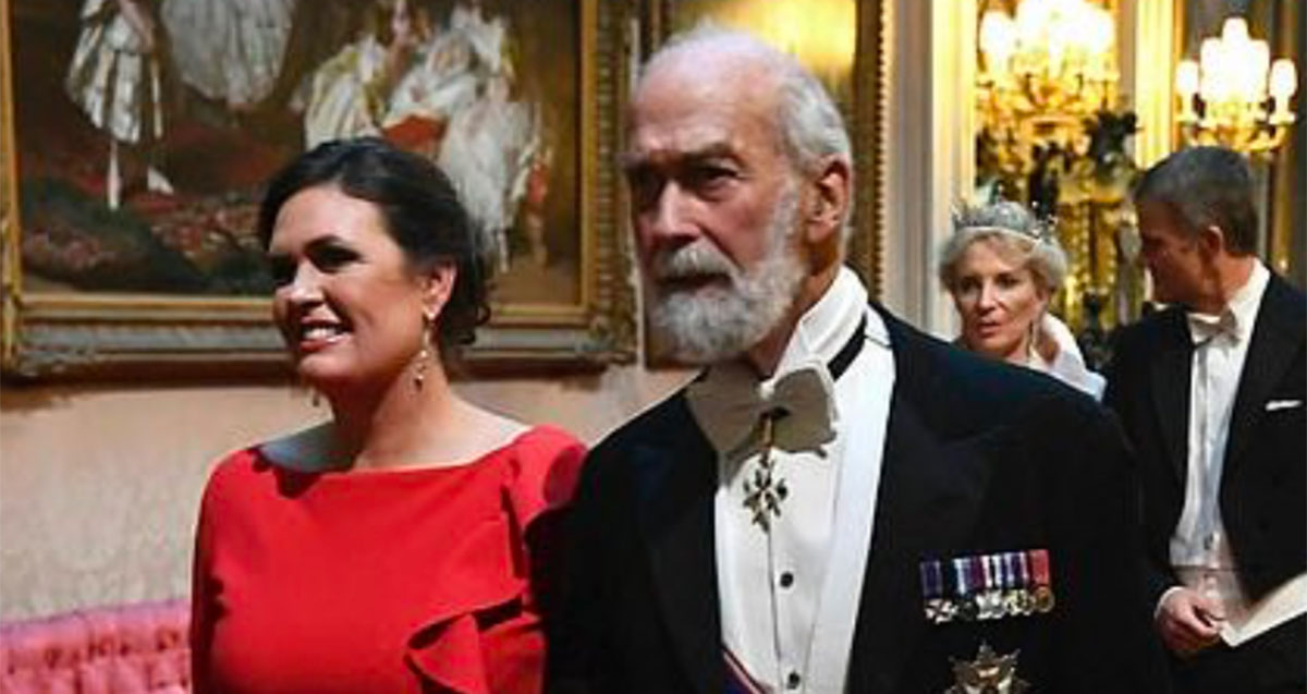 Sarah Huckabee Sanders Lovely in Red at State Banquet with Queen Elizabeth