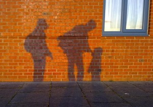 Family shadow on the wall
