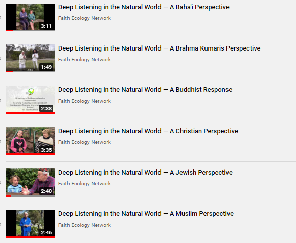 Deep listening reflections by various religions