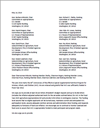 WIC 2015 Appropriations Letter