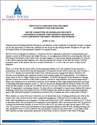 Child Refugees Statement - House Homeland Security Hearing
