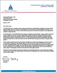 Adoption Tax Credit Refundability Act Endorsement Letter