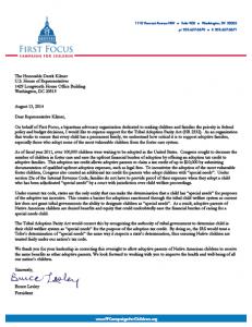 Tribal Adoption Parity Act Endorsement Letter
