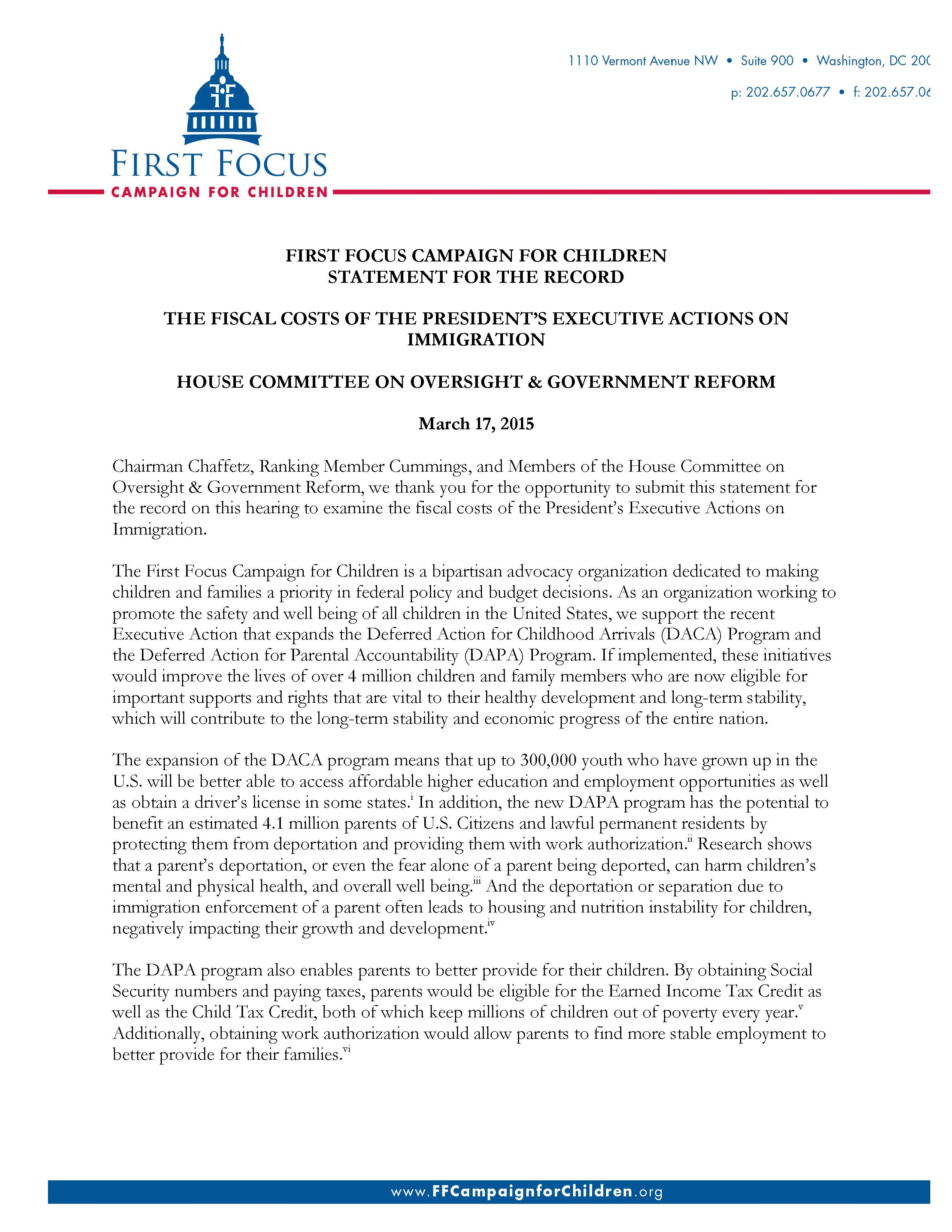 Statement for the Record, The Fiscal Costs of The President's Executive Actions on Immigration_Page_1