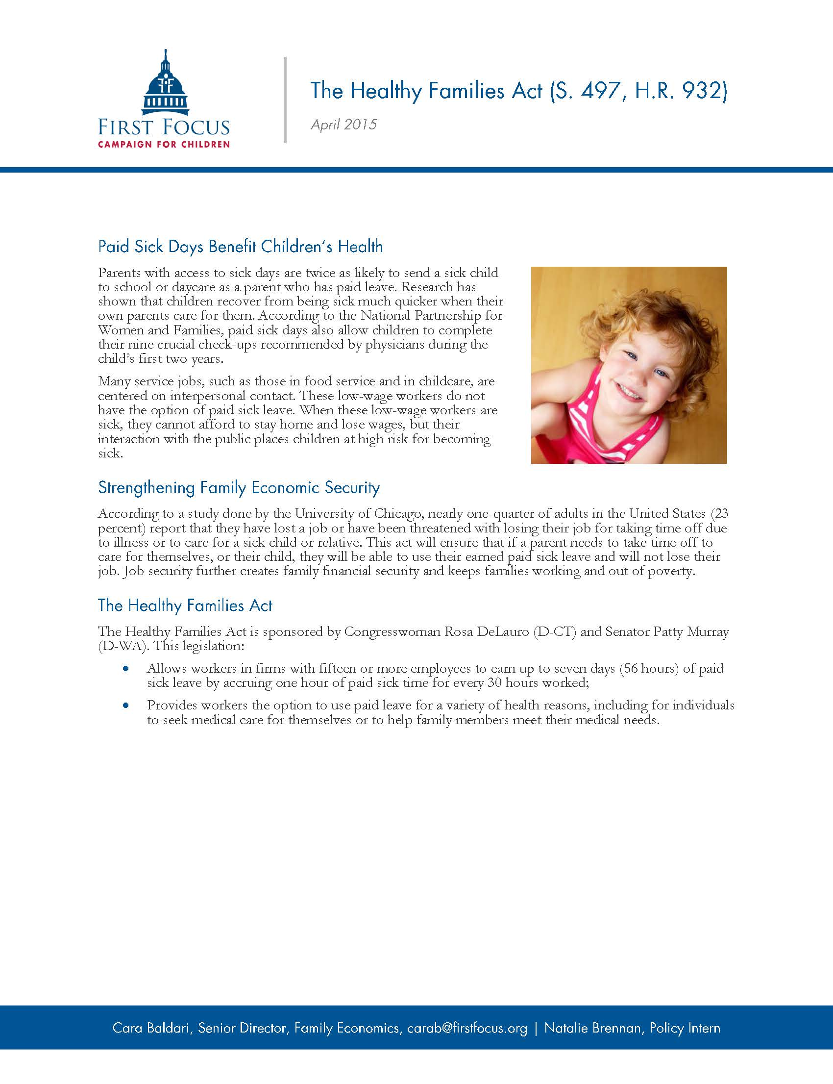 The Healthy Families Act Fact Sheet