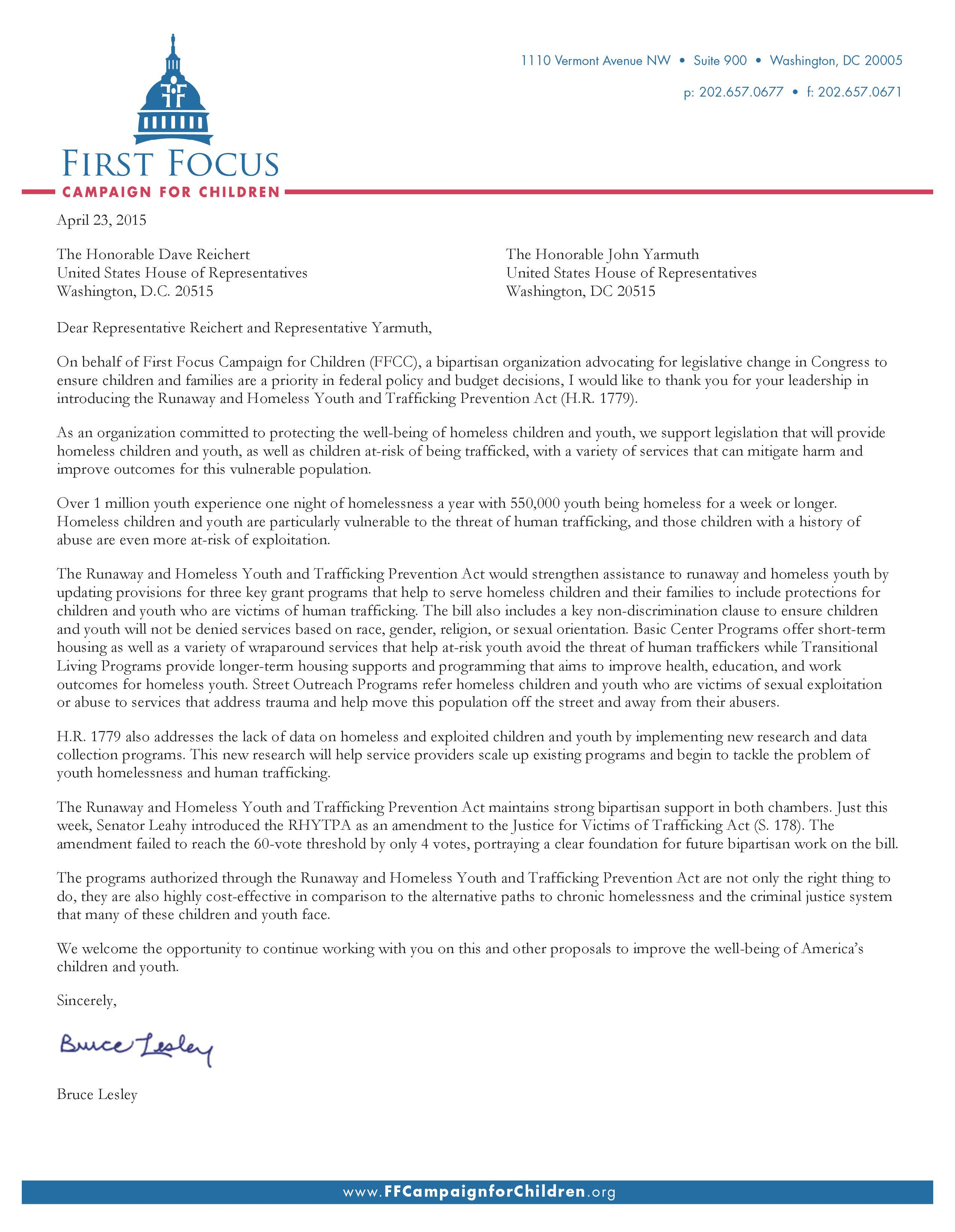 Support for the Runaway and Homeless Youth and Trafficking Prevention Act