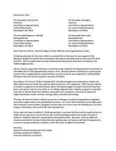 Children's Budget Coalition - 302b Letter to the Appropriators (November 2015)