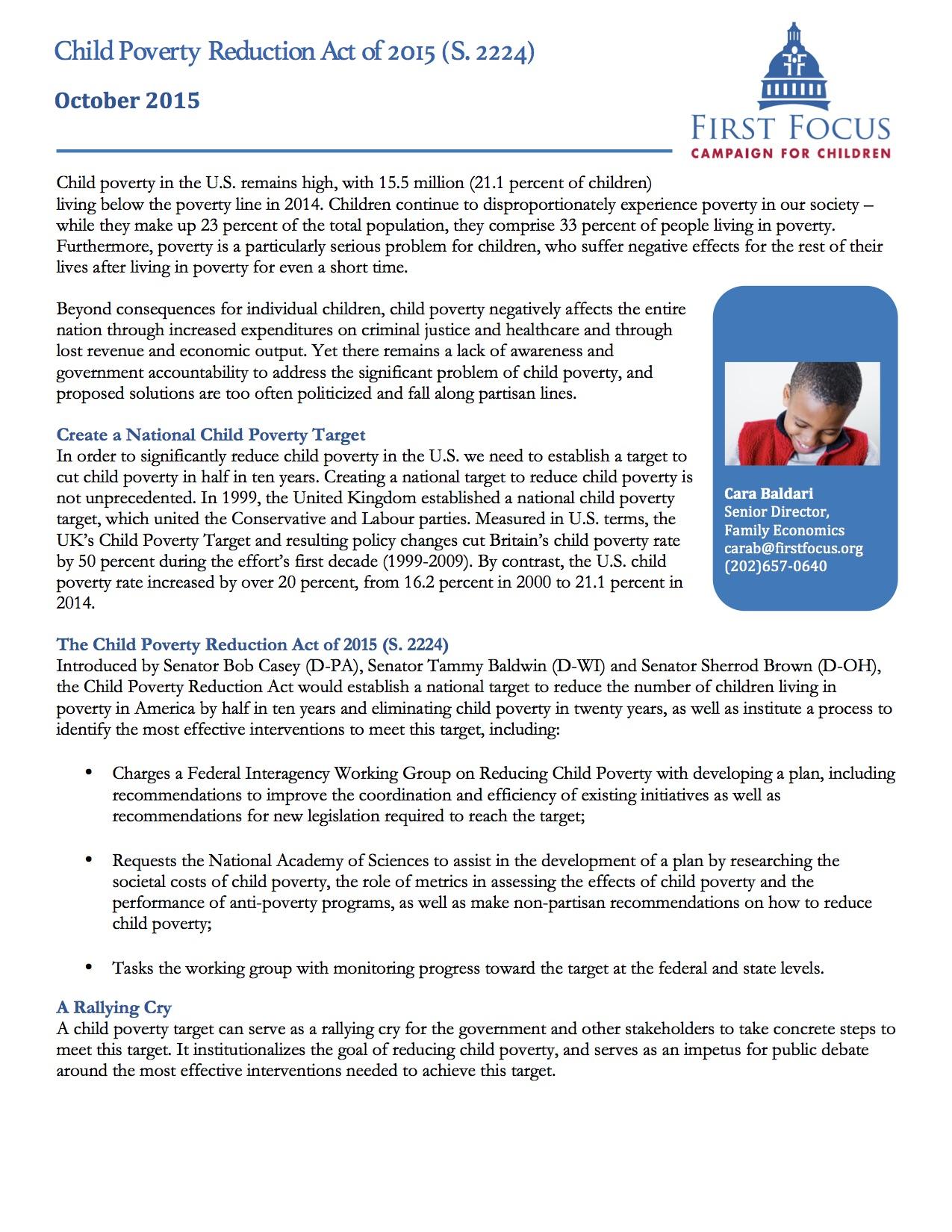 Child Poverty Reduction Act Fact Sheet - Senate version