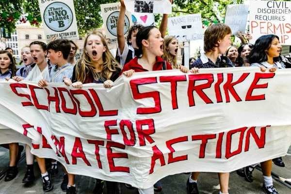School Strike for Climate banner