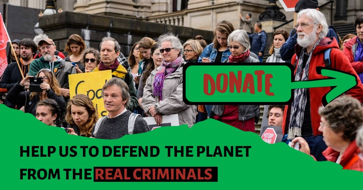 Please help us to keep on defending the planet against the real criminals- donate