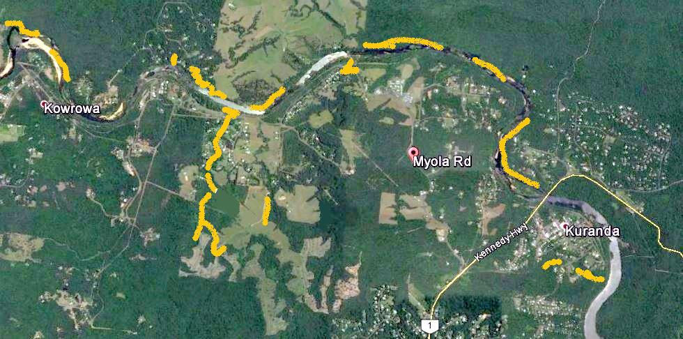 Extent (in yellow)  of Litoria myola population within the Barron River Myola valley west of Kuranda