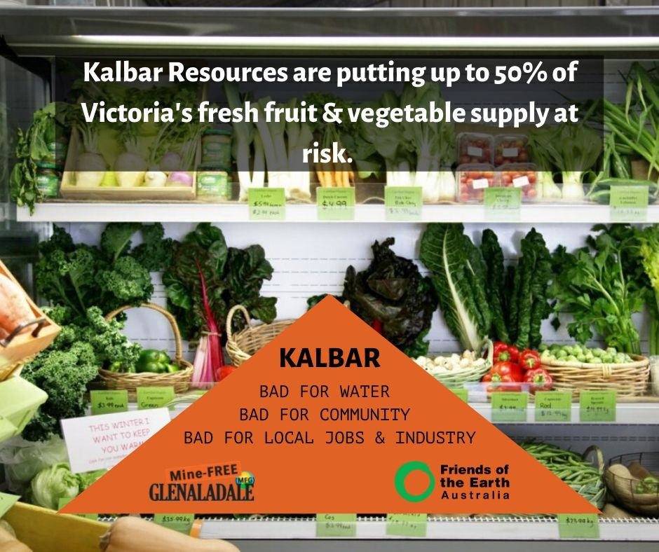 Kalbar Resources are putting up to 50% of Victoria's fresh fruit & vegetable supply at risk.