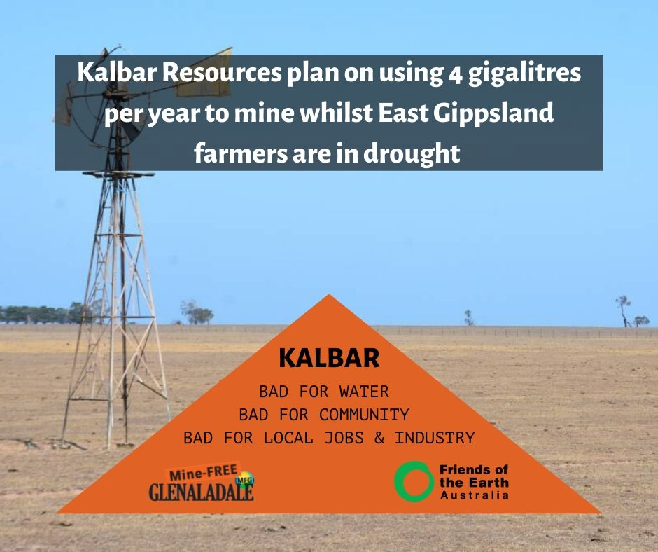 Kalbar Resources plan on using 4 gigalitres per year to mine whilst East Gippsland farmers are in drought