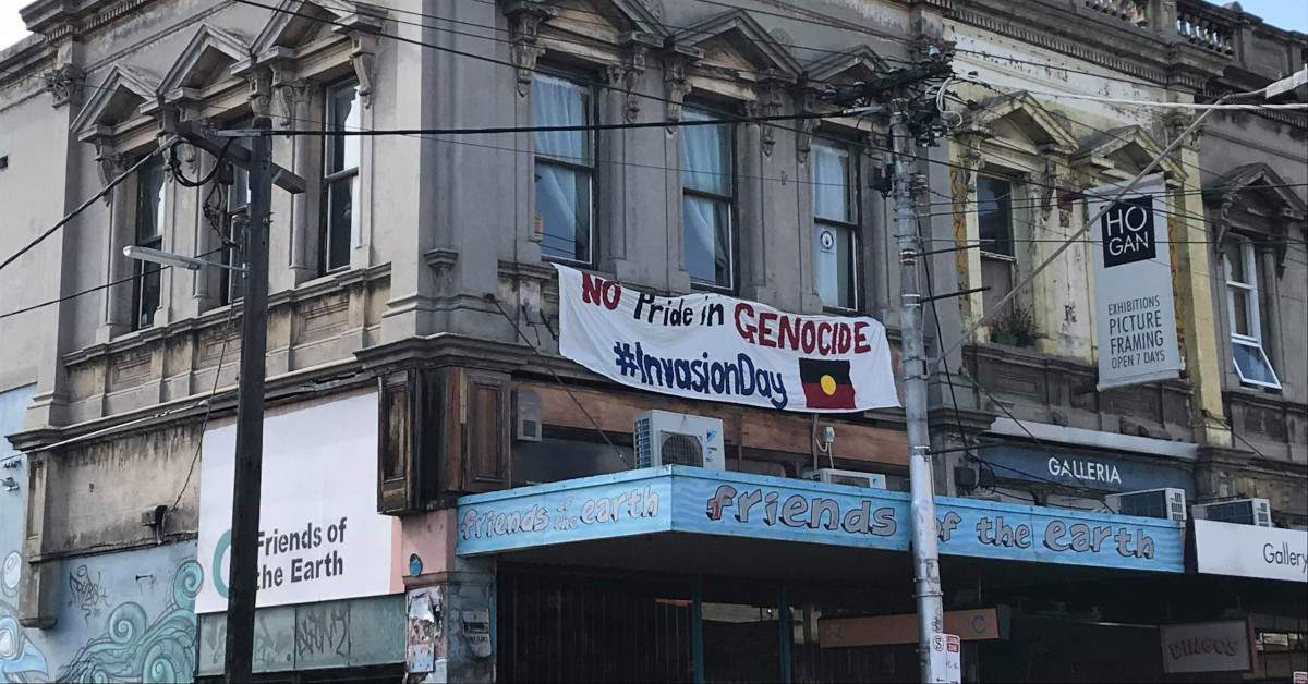We have hung a banner from our Smith St office in Yalla-birr-ang/Collingwood to mark the resistance.