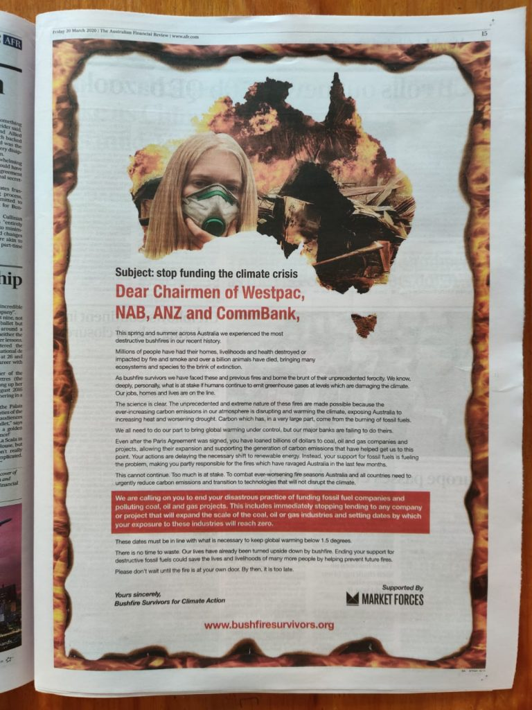 Bushfire Survivors for Climate Action newspaper ad