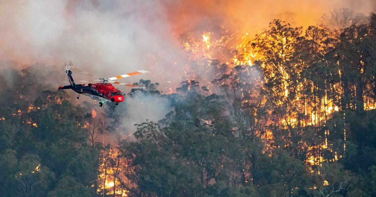 Helicopter Fighting Australian Bushfires