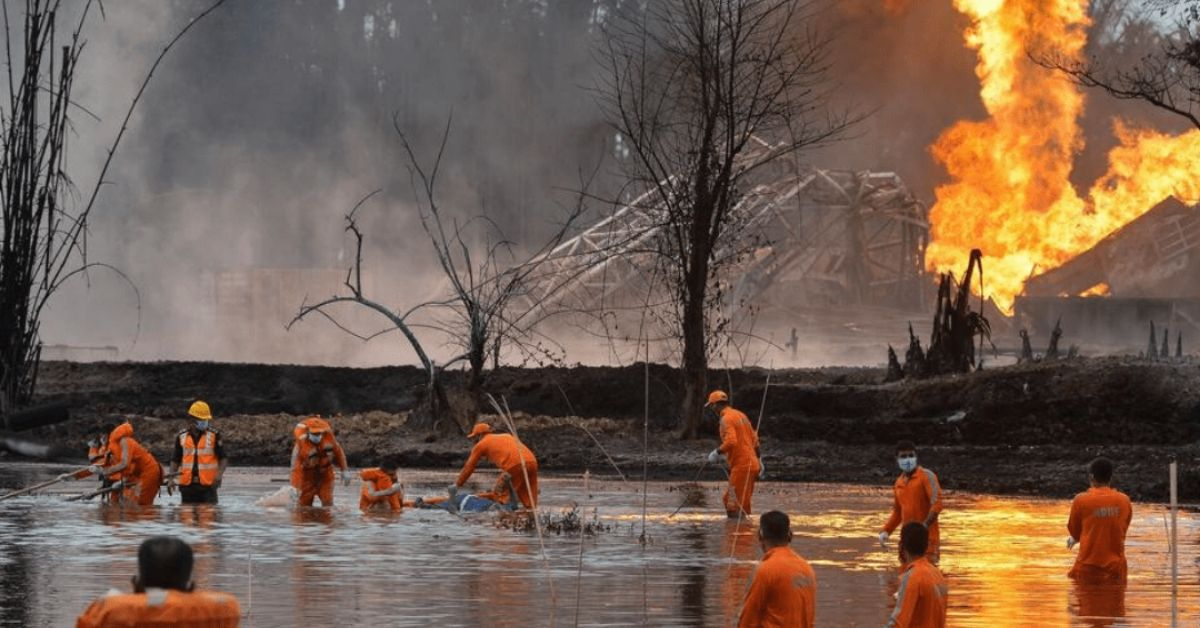 Rescue workers recover a body of water following the explosion. Source: timesofindia.indiatimes.com