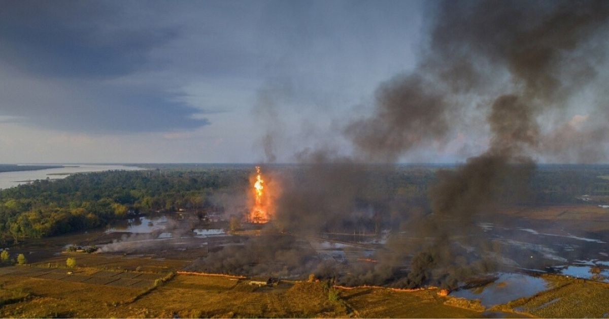 Aerial view of the Baghjan oil field engulfed in fire. Source: PTI
