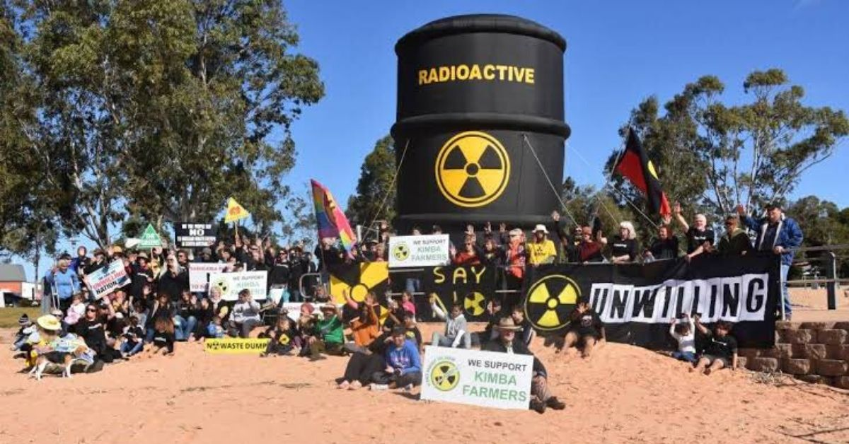 Community opposition to the nuclear waste dump with large inflatable nuclear waste bin
