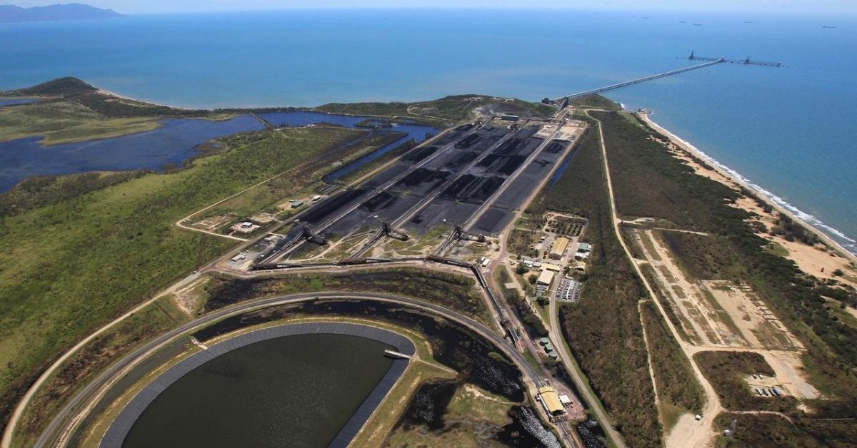 Aerial shot of Adani coal port in QLD