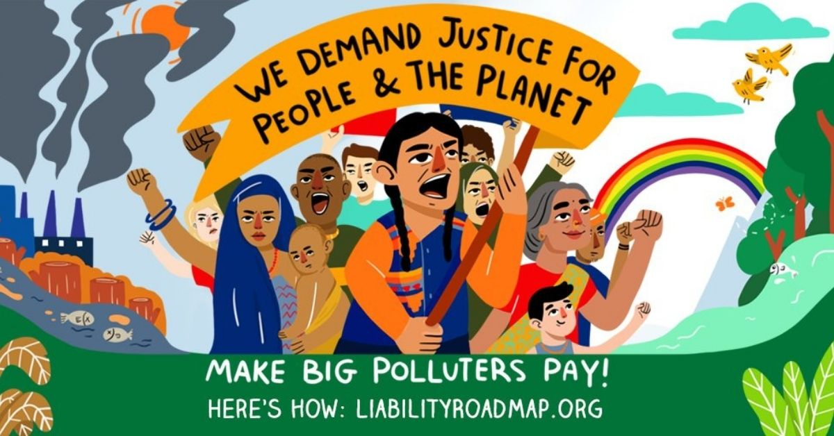 Cartoon image of diverse people protesting. Their sign reads: We demand justice for people and the planet
