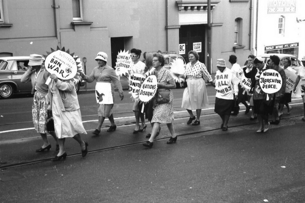Women march in the 60s against war