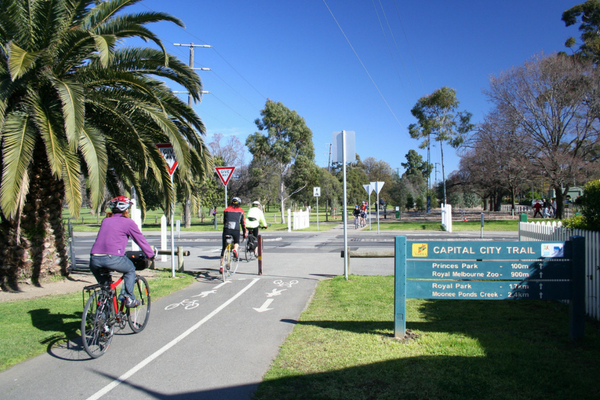 Cyclists on the Capital City Trail in Melbourne