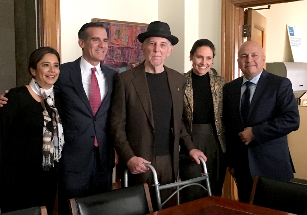 Mayor Garcetti, Deputy Mayor Romero and Councilmember Ed Reyes Celebrate the LA City's purchase of the G2 Parcel with FoLAR Founder Lewis MacAdams and Executive Director Marissa Christiansen.