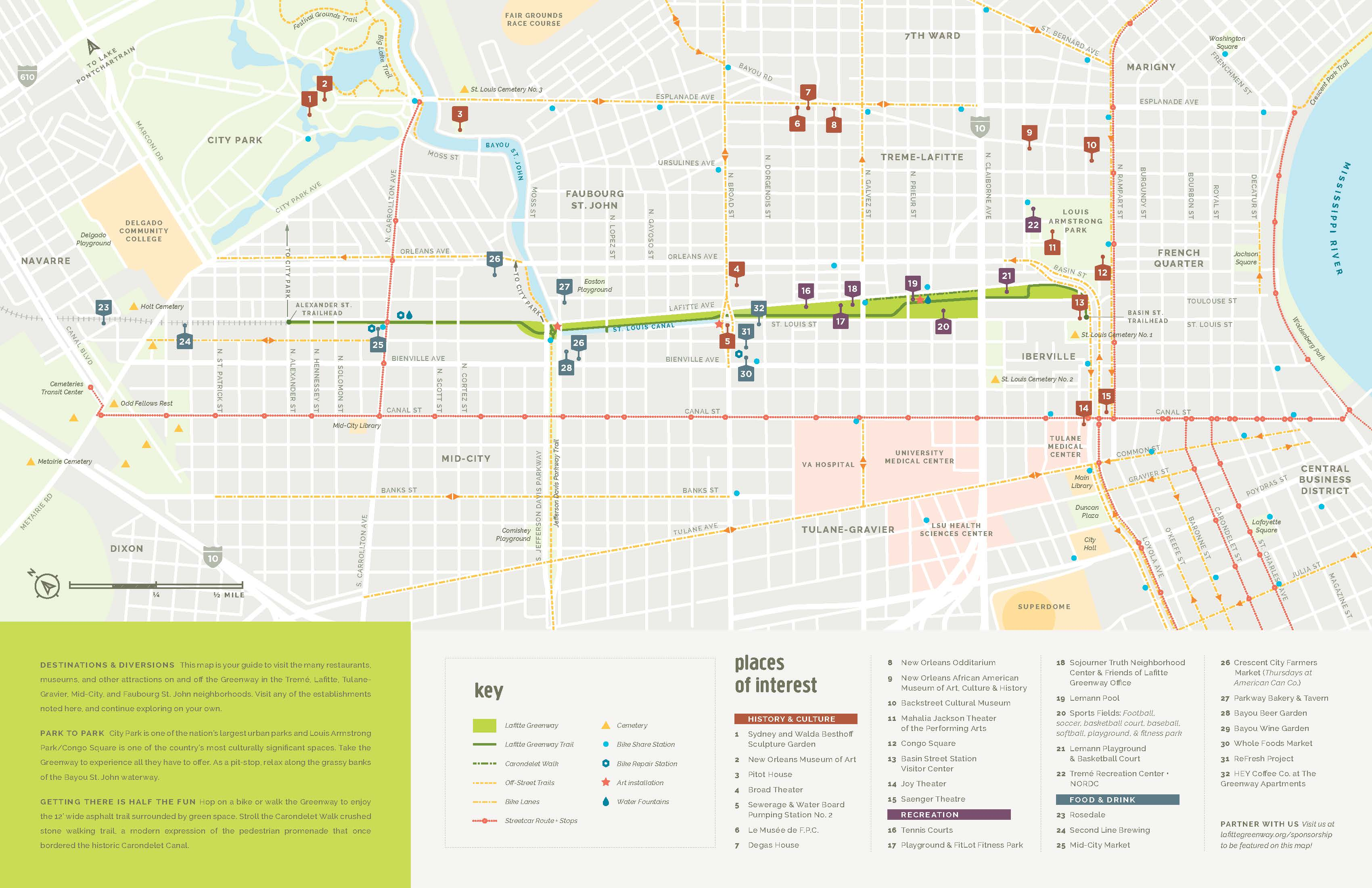 picture relating to Printable Walking Map of New Orleans called Map - Buddies of Lafitte Greenway